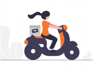 girl on a bike job delivery