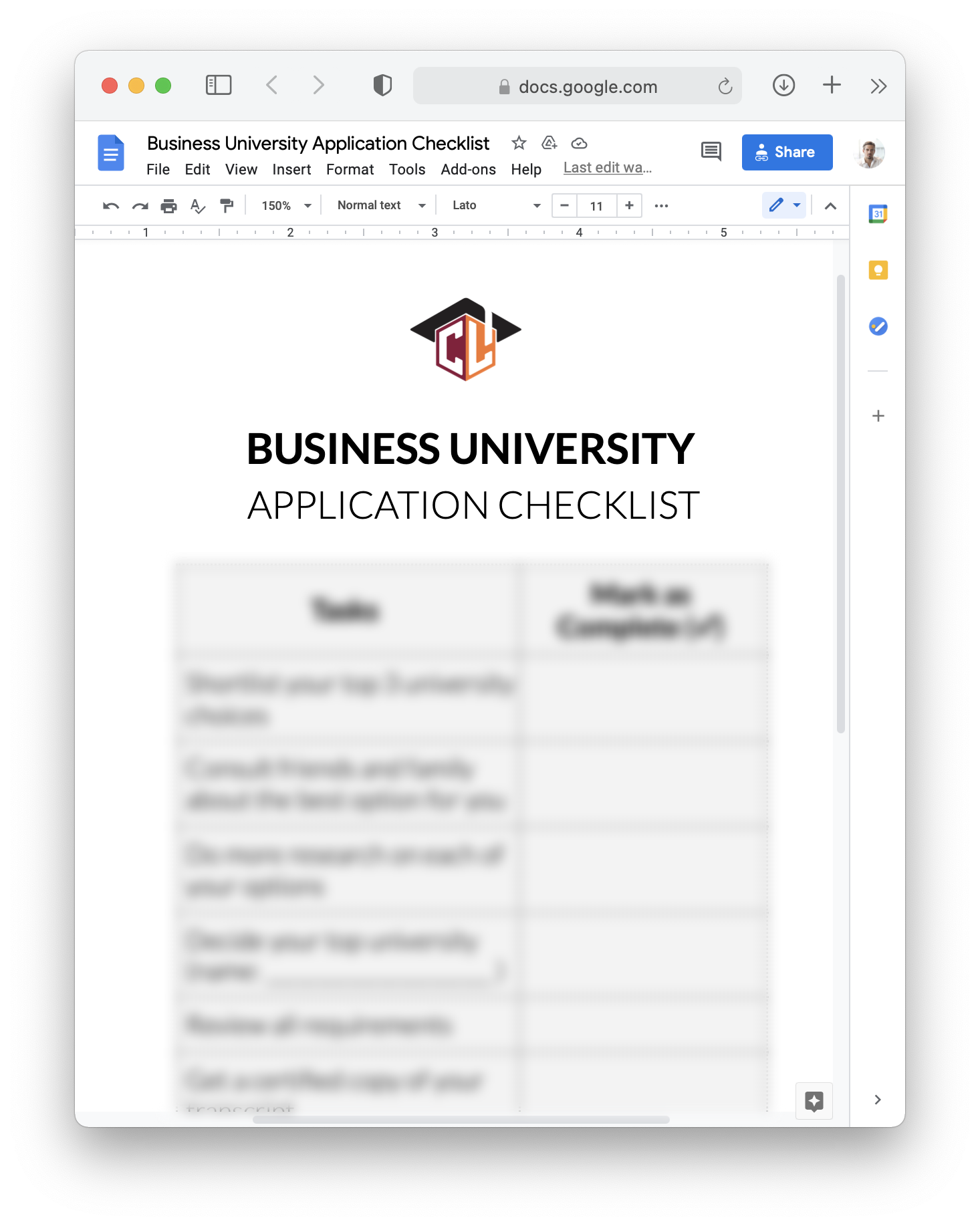 University Application Checklist